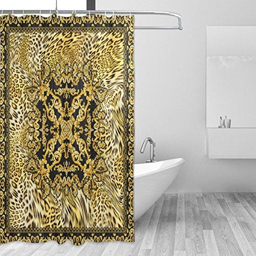Coosun Duschvorhang-Set, Barock, Leopardenmuster, Polyester-Stoff, wasserabweisend, Badezimmer-Duschvorhang-Set, Heimdekoration mit Haken, 167,6 x 182,9 cm