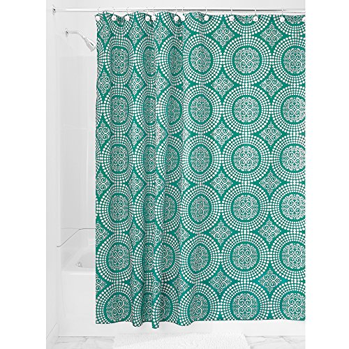 InterDesign Medallion Textil Duschvorhang, Stoff mit verstärkter Oberkante, aquamarin, 183 cm x 183 cm