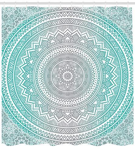 Abakuhaus Duschvorhang, Hell Blau Türkises Umbra Mandala Symmetrisches Muster Design Druck Zen Kunstwerk Aqua Tone, Blickdicht aus Stoff inkl. 12 Ringe für Das Badezimmer Waschbar, 175 X 200 cm