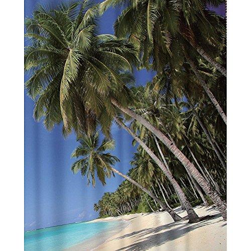 Sanixa PA80129 Duschvorhang Textil 180x200 cm Palmen Strand Meer | wasserabweisend | waschbar | Badewannenvorhang | hochwertige Qualität mit Ringen