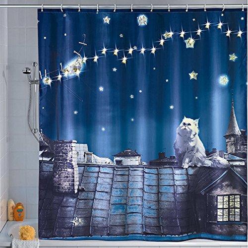 Wenko 22497100 LED Duschvorhang Moon Cat - waschbar, mit 12 Duschvorhangringen, Polyester, Mehrfarbig