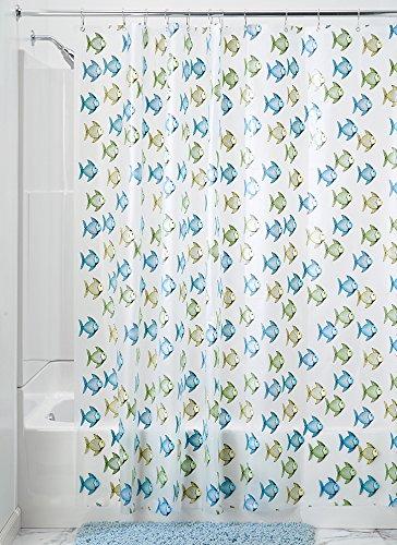 iDesign Fishy Schimmel-/Spakresistenter Wasserdichter Duschvorhang aus PEVA, 180 x 200 cm, blau/grün