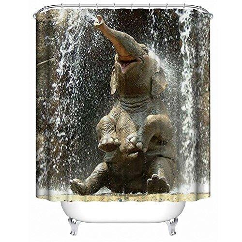 QEES Duschvorhang mit Bildern von Hund Katze Wolf Haustier Künstlerische Bilder Wasserdichter Duschvorhang aus Stoff Anti-Schimmel Textilien Wasserabweisend YLB02 (Froher Elefant-L)