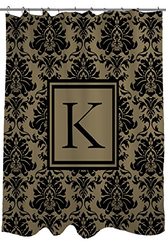 Manual Woodworkers & Weavers Shower Curtain, Monogrammed Letter K, Black and Gold Damask