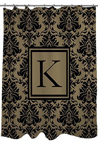 Manuelle holzverarbeiter & Weavers Vorhang für die Dusche, Monogramm Buchstabe K, schwarz und Gold Damast