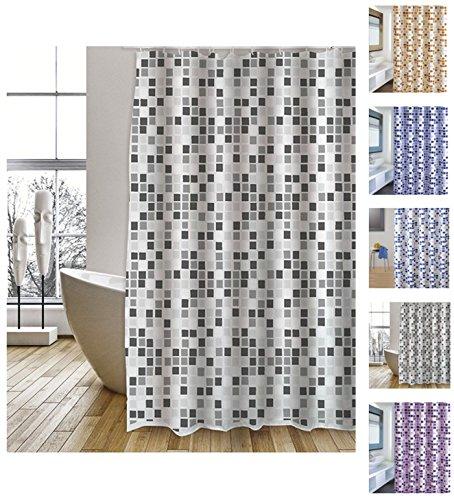 """MSV Cotexsa by Premium Anti-Schimmel Textil Duschvorhang - Anti-Bakteriell, waschbar, 100% wasserdicht, mit 12 Duschvorhangringen - Polyester, """"Mosaik"""" Schwarz/Weiß 180x200cm – Made in Spain"""