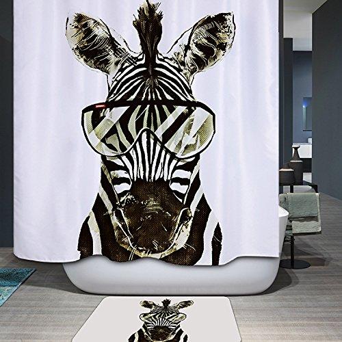 Wasserdicht Schimmel Beweis Bad Duschvorhang mit 12 Haken - Qualitäts-Polyester-Gewebe Duschvorhänge180*180,Die Bilder des stilvollen Zebra,Digitaler Druck,Nylon Material,Cartoon-Stil