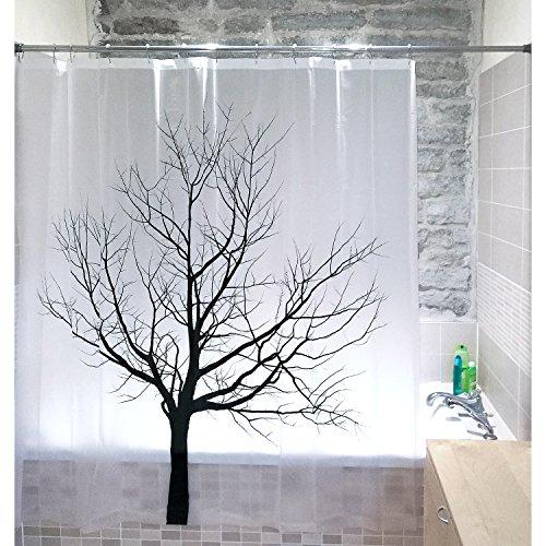 Tatkraft Tree Duschvorhang 180X180 cm Wasserdichter Anti-Schimmel, Wasserabweisender Stoff PEVA