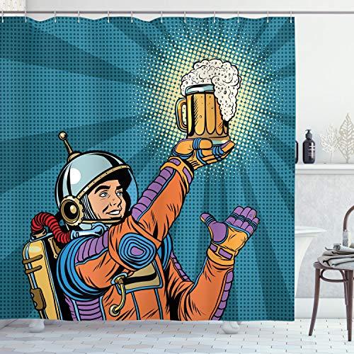 ABAKUHAUS Duschvorhang, Astronaut Welcher im Weltall Bier Findet Retro Hipster Vintage Comic Design als Digital Druck, Blickdicht aus Stoff inkl. 12 Ringen Umweltfreundlich Waschbar, 175 X 200 cm