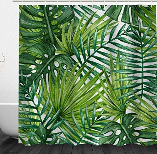 Alicemall Duschvorhang 180x180 Textil Schimmelresistenter Wasserabweisender Stoff-Duschvorhang Shower Curtain 180x180cm (Blätter)