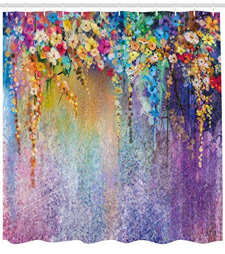 Abakuhaus Duschvorhang, Blumen Abstraktes Baum Design Lila Rot Künstlerisches Werk Pink Töne Mehrfarbig Gemälde Druck, Blickdicht aus Stoff inkl. 12 Ringe für Das Badezimmer Waschbar, 175 X 200 cm