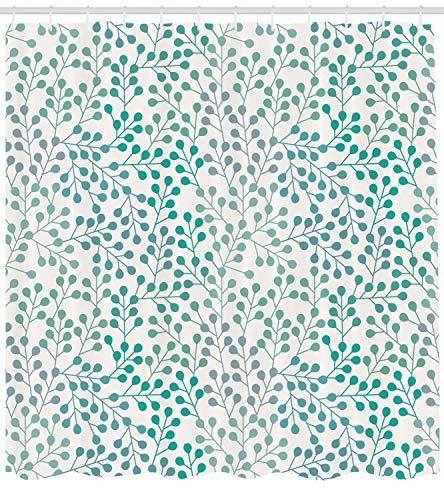 Abakuhaus Duschvorhang, Simplistischer Minimalistisches Symmetrisches Muster Aquamarinblauen Farben Digital Druck, Blickdicht aus Stoff inkl. 12 Ringen Umweltfreundlich Waschbar, 175 X 200 cm