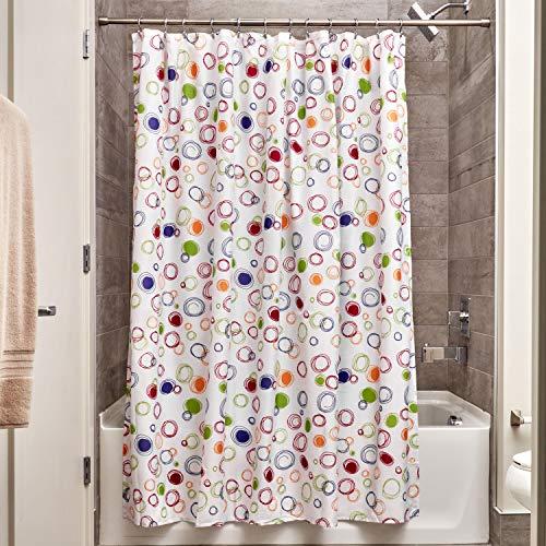 iDesign Doodle Duschvorhang | Vorhang für Badewanne und Dusche in 183,0 cm x 183,0 cm | Bad Duschvorhang mit grafischem Muster| Polyester bunt