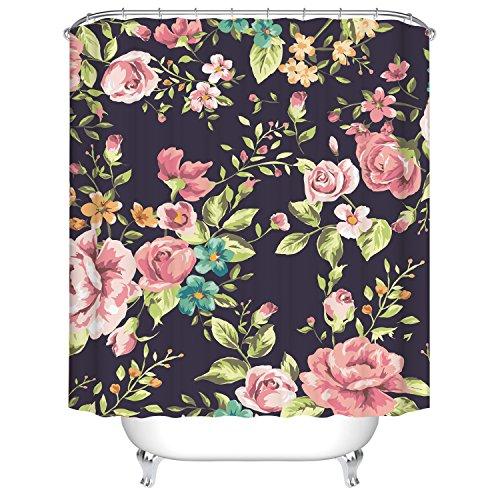 Badezimmer Duschvorhang, Top Qualität Anti-Schimmel Duschvorhänge Digitaldruck inkl. 12 Duschvorhangringe, 180x180cm (Rote Rose schwarzer Hintergrund)