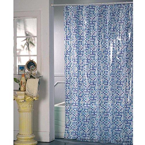 """MSV Duschvorhang PVC Anti Schimmel 100% wasserdicht 180x200 cm + 12 Duschvorhangringe """"Mosaik blau"""""""