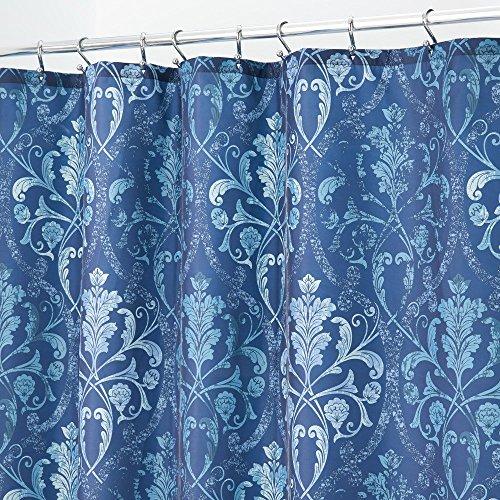 mDesign Duschvorhang Anti-Schimmel - schöner Dusch- & Badewannenvorhang - Duschvorhang wasserabweisend - 12 verstärkte Löcher für einfache Aufhängung - blau