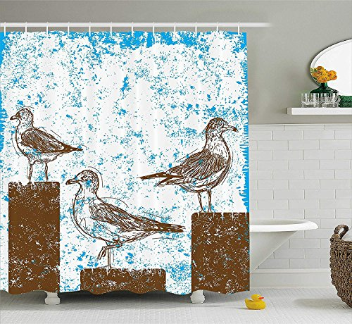 werert Möwen, Möwen, auf Holzsäulen ruhend, skizzierter Druck mit abstraktem Hintergrund, 152,4 x 182,9 cm, Badezimmer wasserdicht Duschvorhang Dekoration mit Haken
