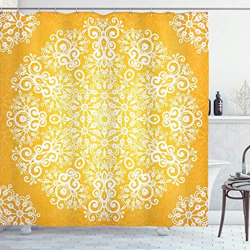 ABAKUHAUS Gelb Duschvorhang, Floral Schneeflocken, Pflegeleichter Stoff mit 12 Haken Wasserdicht Farbfest Bakterie Resistent, 175 x 180 cm, Gelb und Weiß