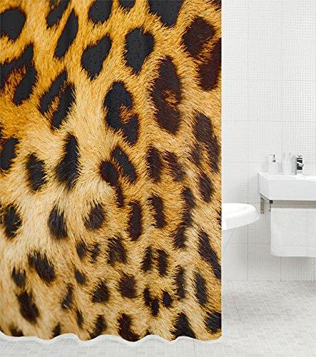 Duschvorhang Leopardenfell 180 x 180 cm, hochwertige Qualität, 100% Polyester, wasserdicht, Anti-Schimmel-Effekt, inkl. 12 Duschvorhangringe
