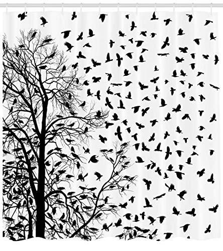 Abakuhaus Duschvorhang, Bilder Schwarz-Weiß Echten Baum Zweige für Vogel Dekoration Liebhaber Natur Leben Herbst Themen, Wasser und Blickdicht aus Stoff mit 12 Ringen Bakterie Resistent, 175 X 200 cm
