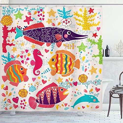 ABAKUHAUS Duschvorhang, Kinderfreundlicher Design mit Fischen Seepferdchen Delfin Bunt Froh Herzen Sternen Druck, Blickdicht aus Stoff inkl. 12 Ringen Umweltfreundlich Waschbar, 175 X 200 cm