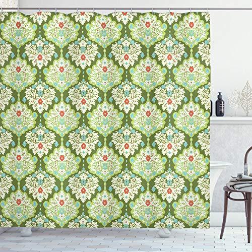ABAKUHAUS Duschvorhang, Symmetrisches Russisch Oriental Muster Grün und Grün Töne mit Roten Blumen Druck Muster, Blickdicht aus Stoff inkl. 12 Ringen Umweltfreundlich Waschbar, 175 X 200 cm