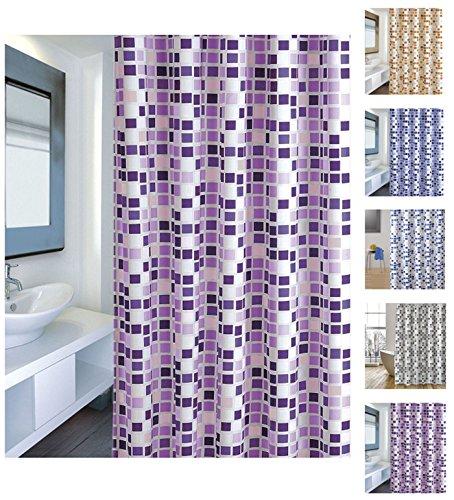 "Cotexsa by MSV 142101 Anti-Schimmel Textil Duschvorhang - Anti-Bakteriell mit 12 Duschvorhangringen ""Mosaik"" Violett 180x200cm"