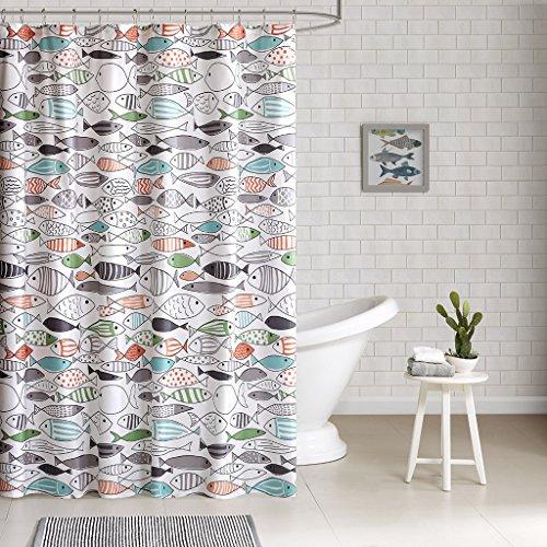 HipStyle – Sardinia – moderner mehrfarbiger Fisch – Baumwolle Bedruckt – Designer-Duschvorhang – 182,9 x 182,9 cm – maschinenwaschbar
