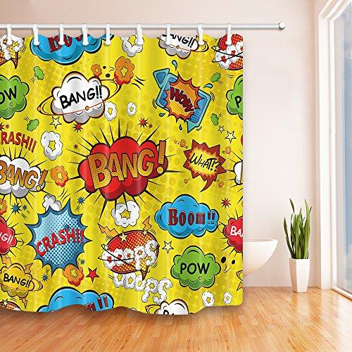 Cinlla Badezimmer-Dekor Cartoon Streifen Serie Grüner Duschvorhang Grün antibakteriell wasserdicht, 180 cm * 180 cm, inklusive Haken (Comics)