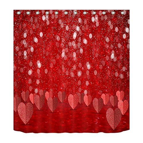 LB Glitzerndes Herz-Muster rot_Dekor Duschvorhang für Badezimmer 59W x71H Wasserdicht Polyester Stoff Badvorhang