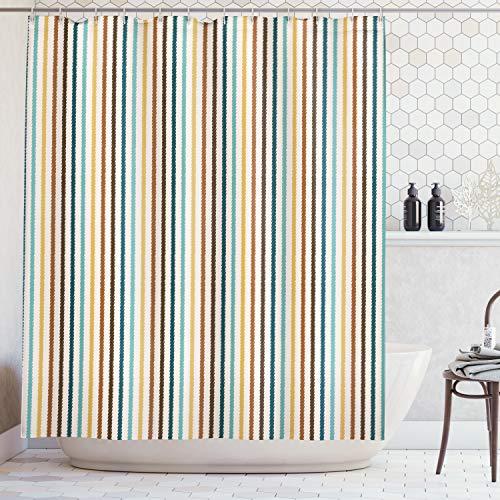 Abakuhaus Duschvorhang, Vertikale Streifen Abstrakt Geometrische Scribble Line Vintage inspiriert Bunt als Digital Druck, Wasser und Blickdicht aus Stoff mit 12 Ringen Bakterie Resistent, 175 X 200 cm