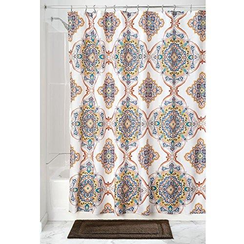 iDesign Henna Medallion Duschvorhang | dekorativer Badewannenvorhang in 183,0 cm x 183,0 cm | tolles Duschvorhang Design mit schönem Medallion-Muster | Polyester bunt