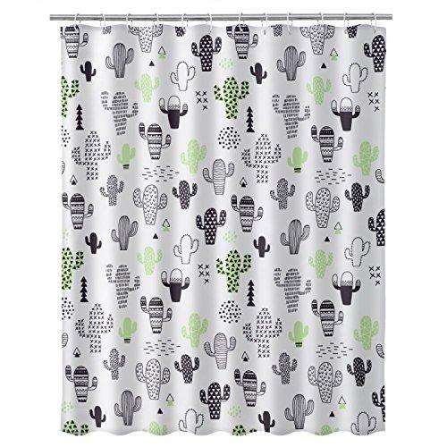 <Dcasa - Moderner Duschvorhang Polyester Kaktus 180 x 200 cm