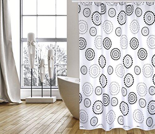 """Cotexsa by MSV Premium Anti-Schimmel Textil Duschvorhang - Anti-Bakteriell, waschbar, 100% wasserdicht, mit 12 Duschvorhangringen - Polyester, """"Dots"""" Schwarz/Weiß 180x200cm – Made in Spain"""