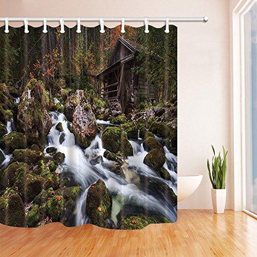 Rrfwq Wandern Wald Holzhaus Dekor Wasserfall entlang Wald Felsen der Stein Schimmel resistent Polyester Stoff Duschvorhänge für Badezimmer Duschvorhang Haken enthalten 70.8X70.8in