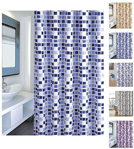 "Cotexsa by MSV 142103 Premium Anti-Schimmel Textil Duschvorhang - Anti-Bakteriell mit 12 Duschvorhangringen - Polyester, ""Mosaik"" Blau 180x200cm – Made in Spain"