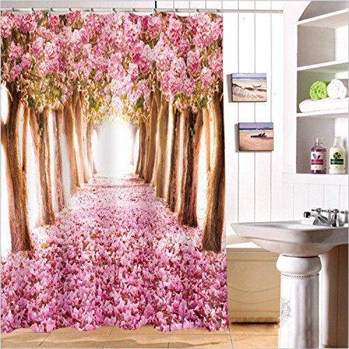 LB Frühling Kirschblüte Baum Rosa Blume Duschvorhang Dekor Badezimmer mit Haken Wasserdichtes Polyestergewebe Anti-Schimmel 180x200
