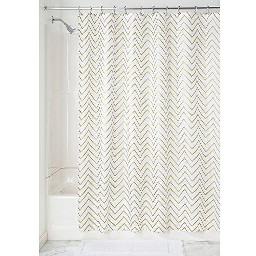 iDesign Sketched Chevron Duschvorhang | Badewannenvorhang mit Zickzack-Muster | Designer Duschvorhang 183,0 cm x 183,0 cm | Polyester gold