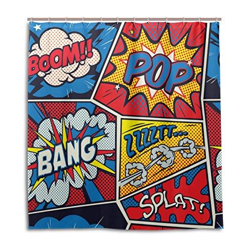 mydaily Retro Pop Art Comic Duschvorhang 167,6x 182,9cm, schimmelresistent & Wasserdicht Polyester Dekoration Badezimmer Vorhang