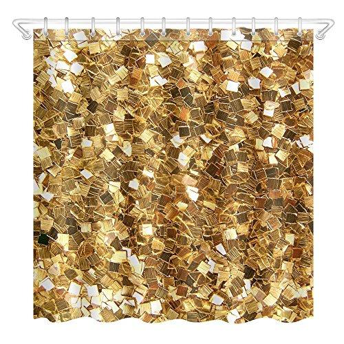 Dixinla 3D Duschvorhang Wasserdicht und Mehltau-Nachweis aus Polyester digital Druck kreative gold glitzernden Bad Duschvorhang, 12 Haken