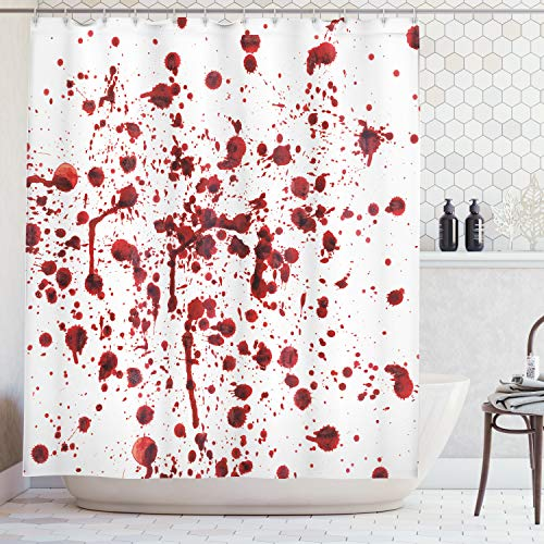 Abakuhaus Duschvorhang, Spritzer von Blut Schmutz Art Blutfleck Horror Zombie Halloween Thematisiertes Druck, Blickdicht aus Stoff inkl. 12 Ringe für Das Badezimmer Waschbar, 175 X 200 cm