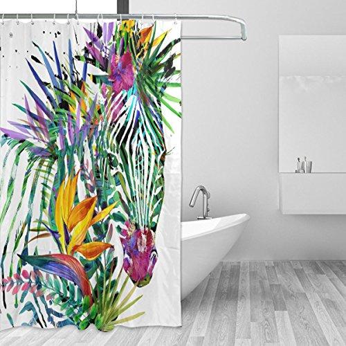 jstel Zebra Exotic Tropical Plant Duschvorhang Schimmelresistent und Polyester-Wasserdicht-182,9x 182,9cm für Home Extra Lang Badezimmer Deko Dusche Bad Vorhänge Liner mit 12Haken