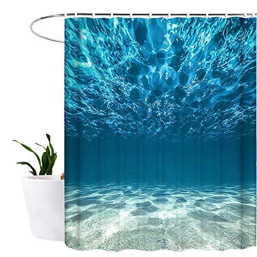 Lonior Duschvorhang Anti-Schimmel Textil Waschbar Anti-Bakteriel Badvorhänge 3D Wasserdicht Duschvorhänge 180x180 cm mit 12 Ringe für Badezimmer Blau Meer