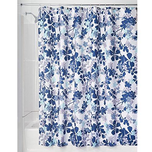 iDesign Petit Floral Textil Duschvorhang | farbenfroher Duschvorhang aus Stoff | pflegeleichte Duschabtrennung mit Blumen-Muster | Polyester lavendel/blau